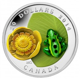 2014 Canada Fine Silver $20 Coin - Water-Lily And Leopard Frog