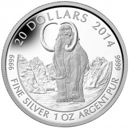 2014 Canadian $20 Prehistoric Animals: Woolly Mammoth - 1 oz Fine Silver Coin