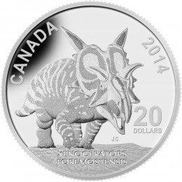 2014 Canadian $20 Dinosaurs of Canada: Xenoceratops Foremostensis - 1 oz Fine Silver Coin