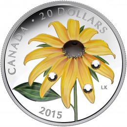 2015 Canada Fine Silver $20 Coin - Black-Eyed Susan with Crystal Dew Drops