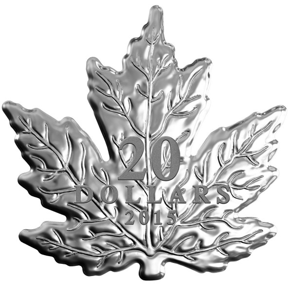 2015 Fine Silver 20 Dollar Coin - Canadian Maple Leaf Shaped