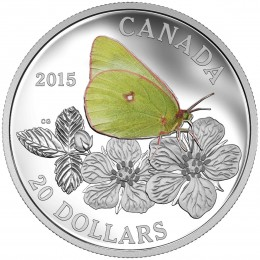 2015 Canadian $20 Butterflies of Canada: Colias Gigantea/Giant Sulphur 1 oz Fine Silver Coloured Coin