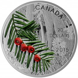 2015 Canadian $20 Forests of Canada: Columbian Yew Tree - 1 oz Fine Silver Coin