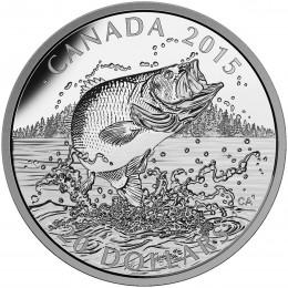 2015 Canadian $20 North American Sportfish: Largemouth Bass 1 oz Fine Silver Coin