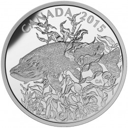 2015 Canadian $20 North American Sportfish: Northern Pike 1 oz Fine Silver Coin