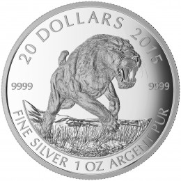 2015 Canadian $20 Prehistoric Animals: American Scimitar Sabre-Tooth Cat - 1 oz Fine Silver Coin