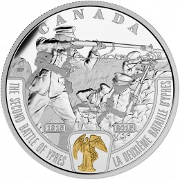 2015 Canadian $20 First World War Battlefront Series: The Second Battle of Ypres - 1 oz Fine Silver & Gold-plated Coin