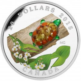 2015 Canadian $20 Venetian Glass Turtle with Broadleaf Arrowhead Flower - 1 oz Fine Silver Coin