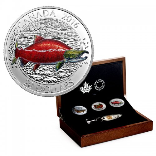 2016 Canadian $20 Big Fish Series 1 oz Silver Coloured 3-Coin Subscription Set + Lure, Collector Case