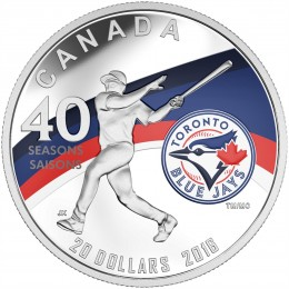 2016 Canada Fine Silver $20 Coin - Celebrating the 40th Season of the Toronto Blue Jays