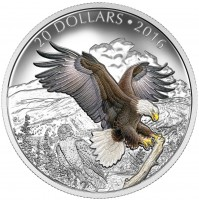 2016 Fine Silver 20 Dollar Coin - Majestic Animals: The Baronial Bald Eagle
