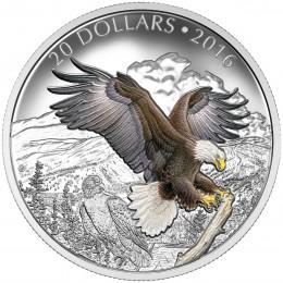 2016 Canada Fine Silver $20 Coin - Majestic Animals: The Baronial Bald Eagle