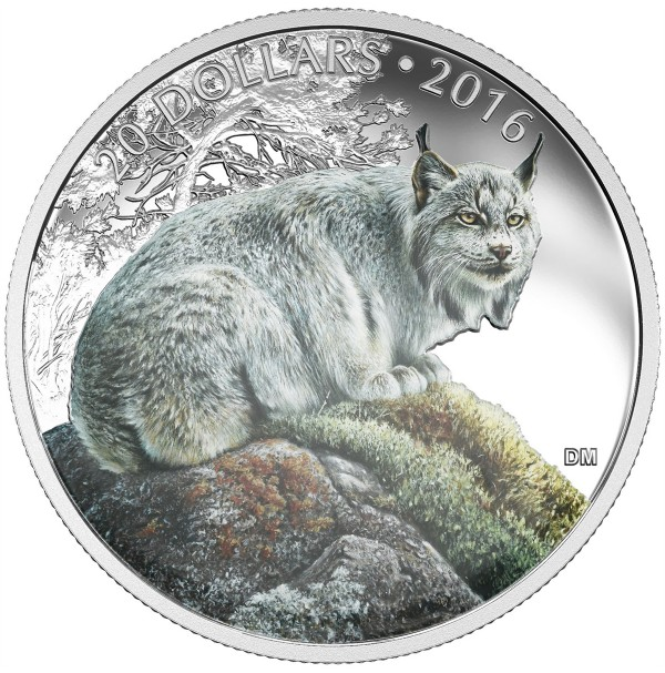 2016 Fine Silver 20 Dollar Coin - Majestic Animals: The Canadian Lynx