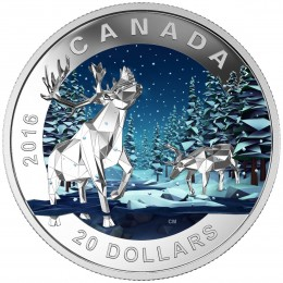 2016 Canadian $20 Geometry in Art: Caribou - 1 oz Fine Silver Coin
