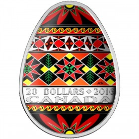 2016 Fine Silver 20 Dollar Coin - Ukrainian Pysanka (Coloured Easter Egg)