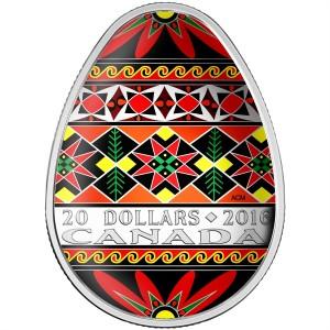2016 Canada Fine Silver $20 Coin - Traditional Ukrainian Pysanka (Coloured Easter Egg)