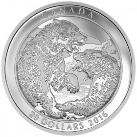 2016 Canadian $20 Grizzly Bear: The Battle - 1 oz Fine Silver Coin