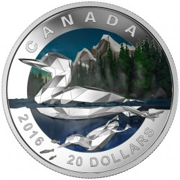 2016 Canadian $20 Geometry in Art: The Loon - 1 oz Fine Silver Coin