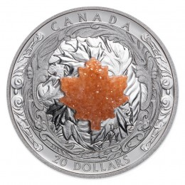 2016 Canadian $20 Majestic Maple Leaves with Drusy Stone 1 oz Fine Silver Coin
