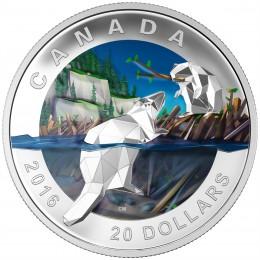 2016 Canada Fine Silver $20 Coin - Geometry in Art: Beaver