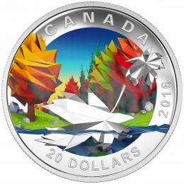 2016 Canadian $20 Geometry in Art: Maple Leaf - 1 oz Fine Silver Coin