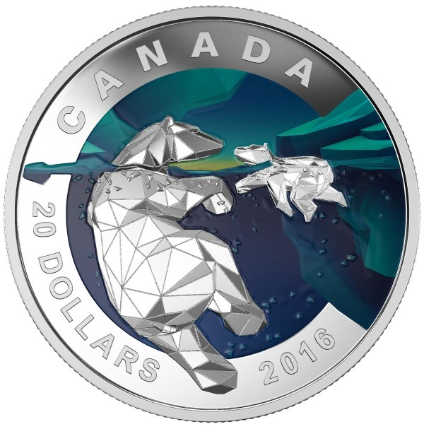 2016 Fine Silver 20 Dollar Coin - Geometry in Art: Polar Bear