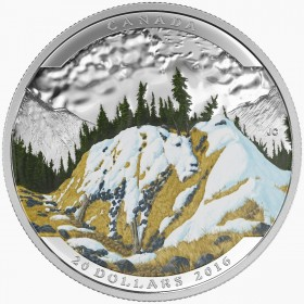 2016 Canadian $20 Landscape Illusion: Mountain Goat - 1 oz Fine Silver Coin