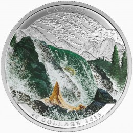 2016 Canadian $20 Landscape Illusion: Salmon - 1 oz Fine Silver Coin