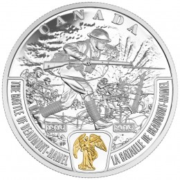 2016 Canadian $20 First World War Battlefront Series: The Battle of Beaumont-Hamel - 1 oz Fine Silver & Gold-plated Coin