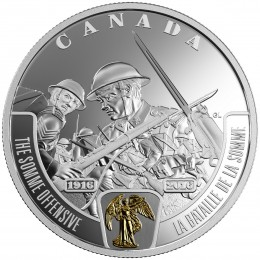 2016 Canadian $20 First World War Battlefront Series: The Somme Offensive - 1 oz Fine Silver & Gold-plated Coin
