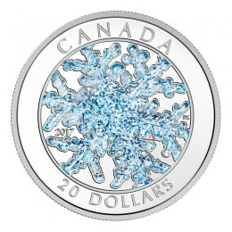 2017 Canadian $20 Ice Crystal/Snowflake 1 oz Fine Silver & Blue Enamel Coin