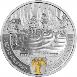 2017 Canadian $20 First World War Battlefront Series: The Battle of Passchendaele - 1 oz Fine Silver & Gold-plated Coin
