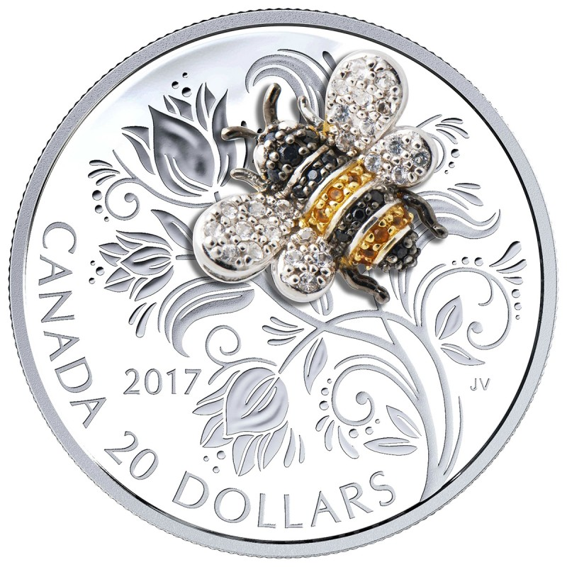 2017 Canadian 20 Bejewelled Bugs Bee 1 Oz Fine Silver Coin