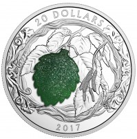2017 Fine Silver 20 Dollar Coin - Brilliant Birch Leaves with Drusy Stone