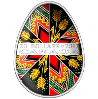 2017 Fine Silver 20 Dollar Coin - Traditional Pysanka (Coloured Easter Egg)