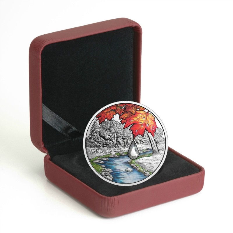 Bigleaf Maple Jewel Rain $20 2016 1OZ Silver Proof Coin