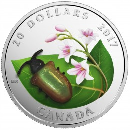 2017 Canadian $20 Little Creatures: Venetian Glass Dogbane Beetle - 1 oz Fine Silver Coin