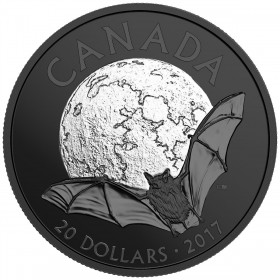 2017 Canadian $20 Nocturnal by Nature: The Little Brown Bat - 1 oz Fine Silver Coin