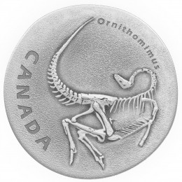 2017 Canadian $20 Ancient Canada: Fossilized Ornithomimus Fine Silver Coin with Floating Frame & Mount