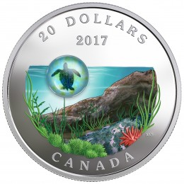 2017 Canadian $20 Under the Sea: Sea Turtle (Venetian Glass) - 1 oz Fine Silver Coin