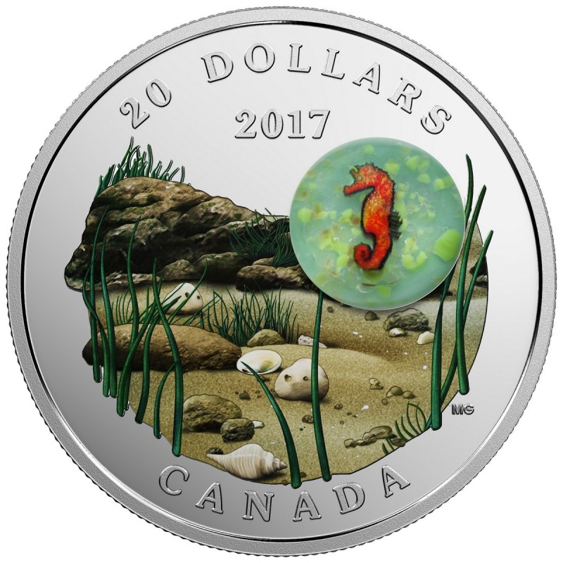 2017 Canada 20 Under The Sea Seahorse Glass 1 Oz Fine