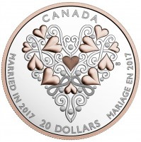 2017 Canada Fine Silver 20 Dollar Coin - Best Wishes On Your Wedding Day