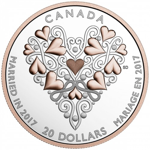 2017 Canadian $20 Best Wishes On Your Wedding Day 1 oz Fine Silver Coin-no box coin in capsule only