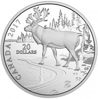 2017 Fine Silver 20 Dollar Coin - Nature's Impressions: Woodland Caribou