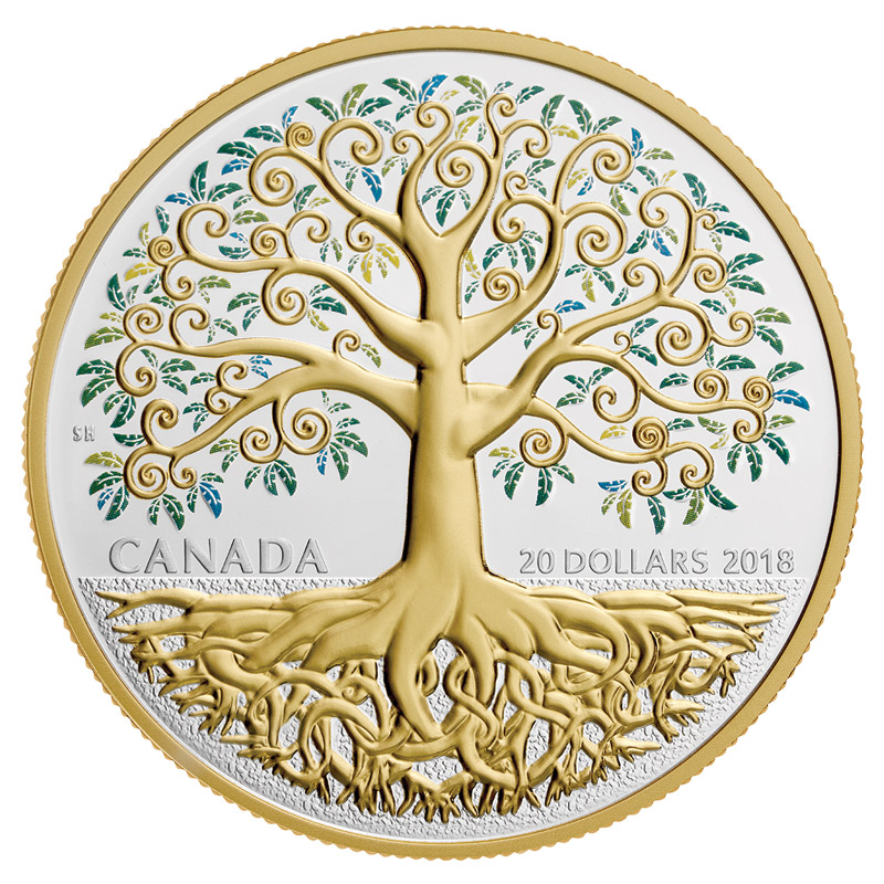 2018 Canadian 20 Tree Of Life 1 Oz Fine Silver Amp Gold