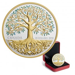 2018 Canada Fine Silver $20 Coin - Dollar Tree of Life (Gold Plated)