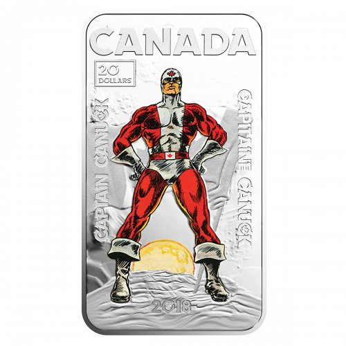 2018 Canadian $20 Captain Canuck - 1 oz Fine Silver Coin-tarnish on back of coin