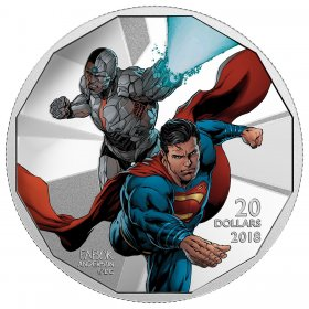 2018 Canadian $20 The Justice League: Cyborg and Superman - 1 oz Fine Silver Coin