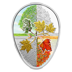 2018 Canadian $20 Four Seasons of the Maple Leaf Egg-shaped 1 oz Fine Silver Gold-plated Coin
