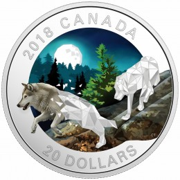 2018 Canadian $20 Geometric Fauna: Grey Wolves 1 oz Fine Silver Coin